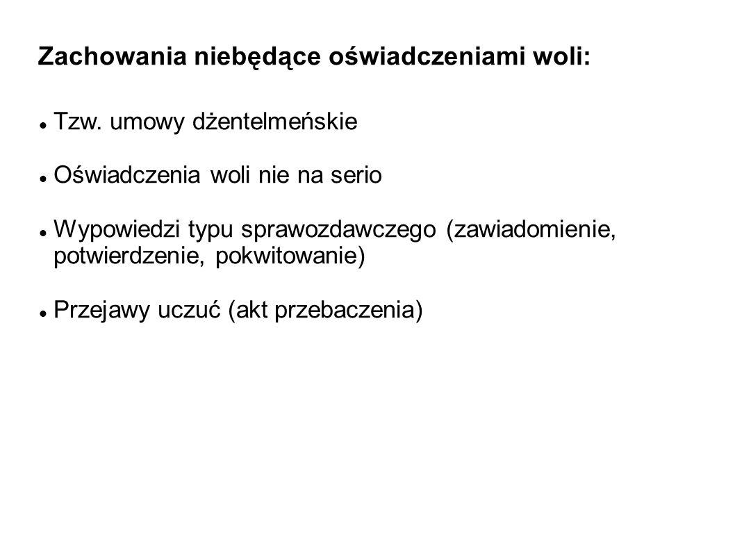 Zachowania niebędące oświadczeniami woli: Tzw. umowy dżentelmeńskie Oświadczenia woli nie na serio Wypowiedzi typu sprawozdawczego (zawiadomienie, pot