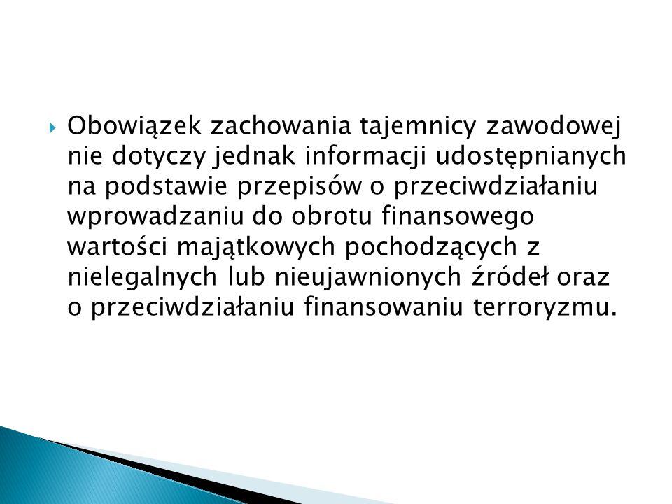  Obowiązek zachowania tajemnicy zawodowej nie dotyczy jednak informacji udostępnianych na podstawie przepisów o przeciwdziałaniu wprowadzaniu do obro