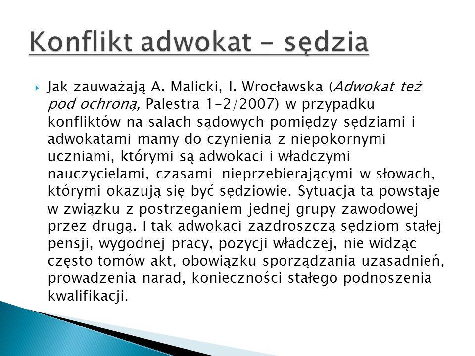  Jak zauważają A. Malicki, I. Wrocławska (Adwokat też pod ochroną, Palestra 1-2/2007) w przypadku konfliktów na salach sądowych pomiędzy sędziami i a