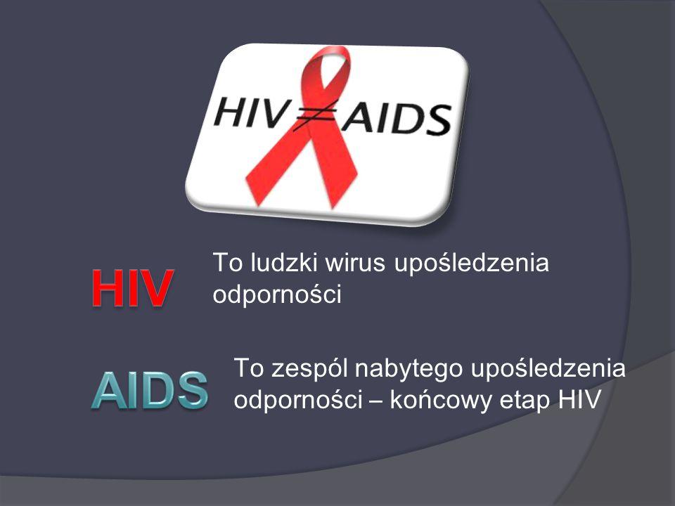 To ludzki wirus upośledzenia odporności To zespól nabytego upośledzenia odporności – końcowy etap HIV