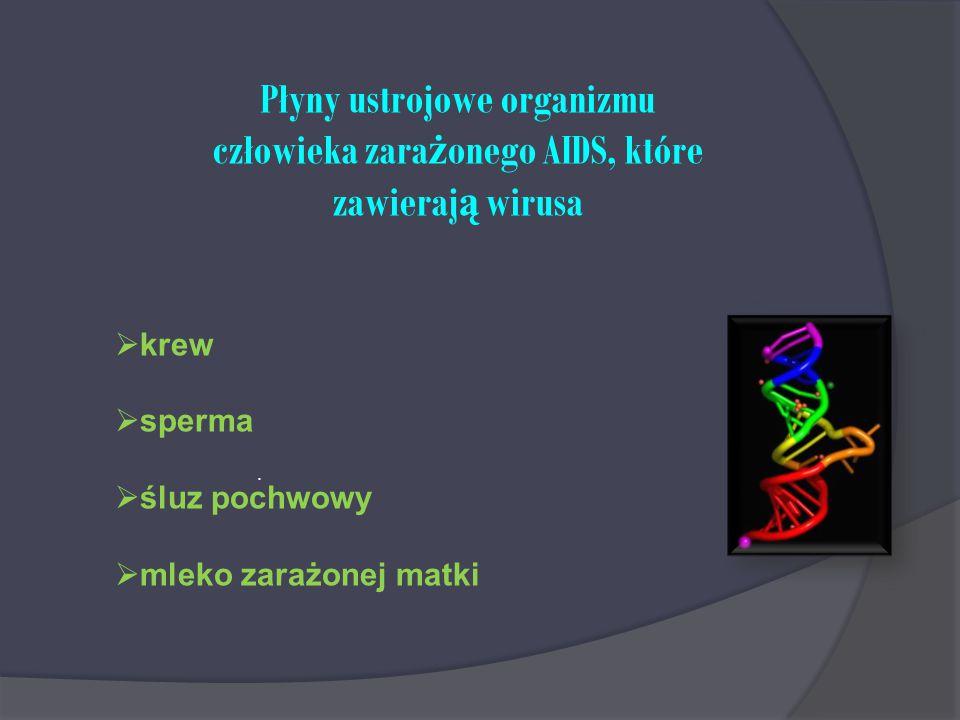 . Płyny ustrojowe organizmu człowieka zara ż onego AIDS, które zawieraj ą wirusa  krew  sperma  śluz pochwowy  mleko zarażonej matki