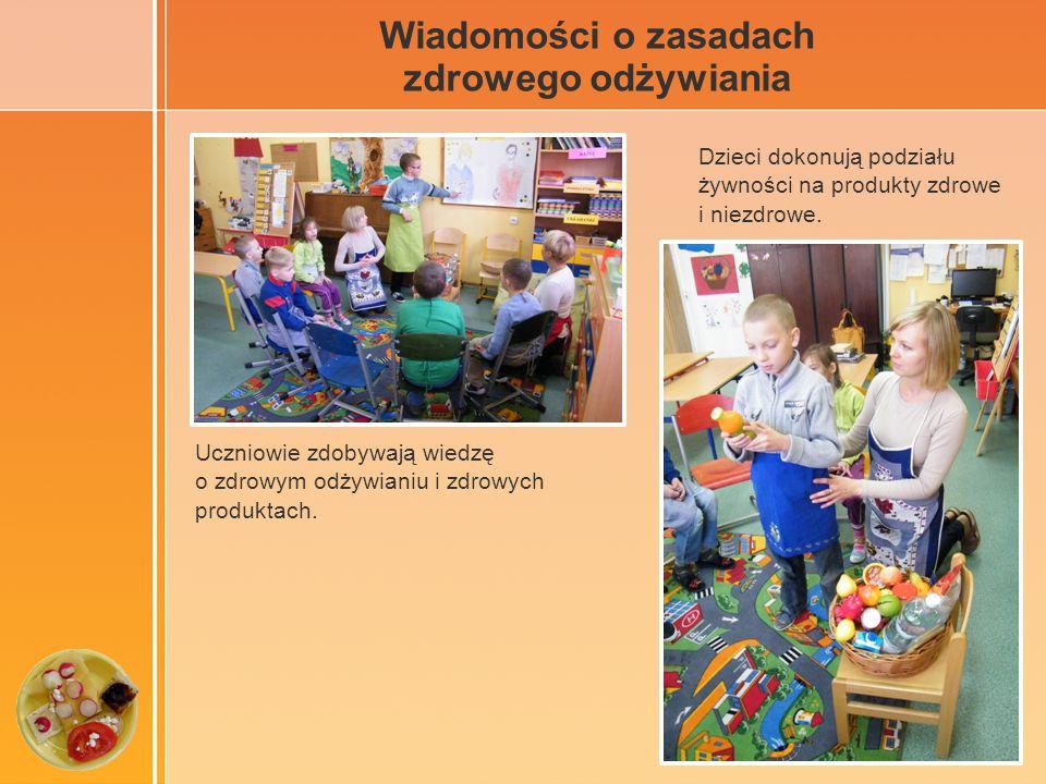 Wiadomości o zasadach zdrowego odżywiania Uczniowie zdobywają wiedzę o zdrowym odżywianiu i zdrowych produktach.