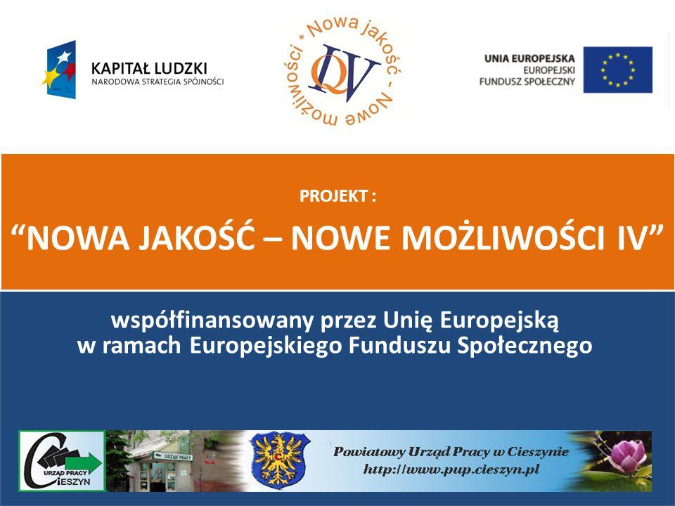 współfinansowany przez Unię Europejską w ramach Europejskiego Funduszu Społecznego PROJEKT : NOWA JAKOŚĆ – NOWE MOŻLIWOŚCI IV