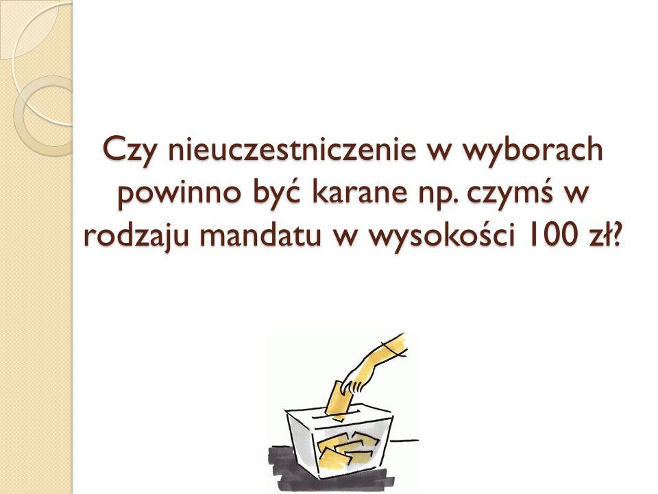 Czy nieuczestniczenie w wyborach powinno być karane np. czymś w rodzaju mandatu w wysokości 100 zł?