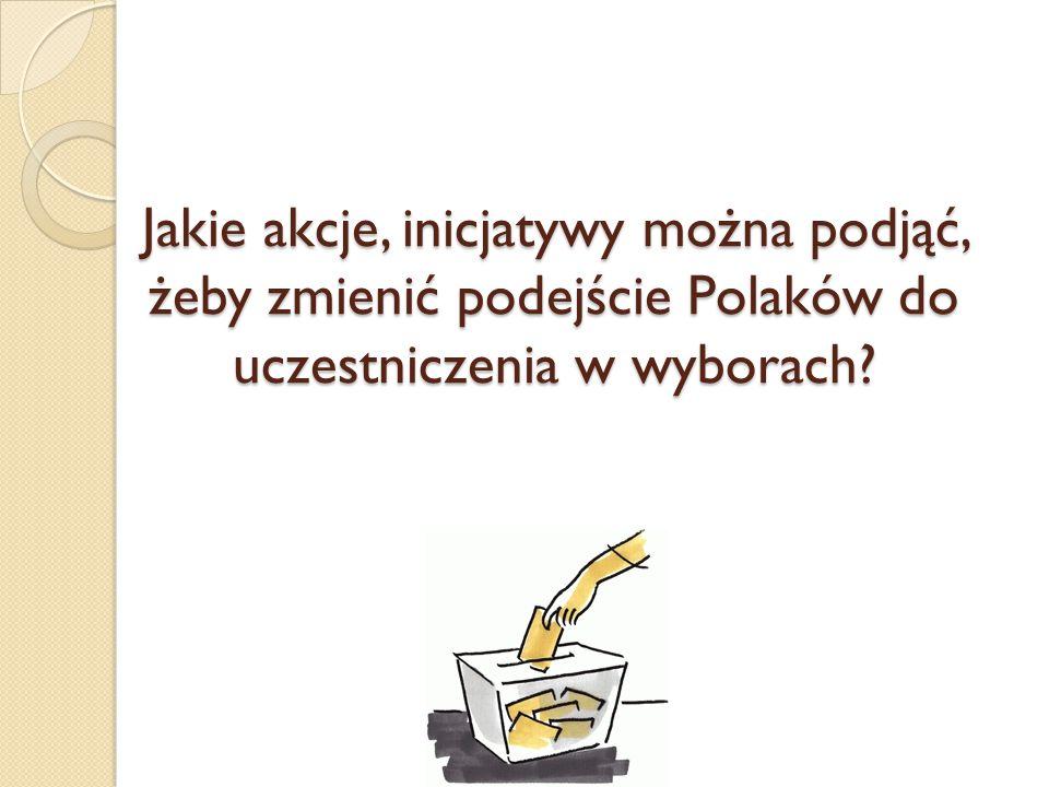 Jakie akcje, inicjatywy można podjąć, żeby zmienić podejście Polaków do uczestniczenia w wyborach?