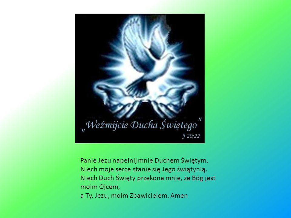 Panie Jezu napełnij mnie Duchem Świętym.Niech moje serce stanie się Jego świątynią.