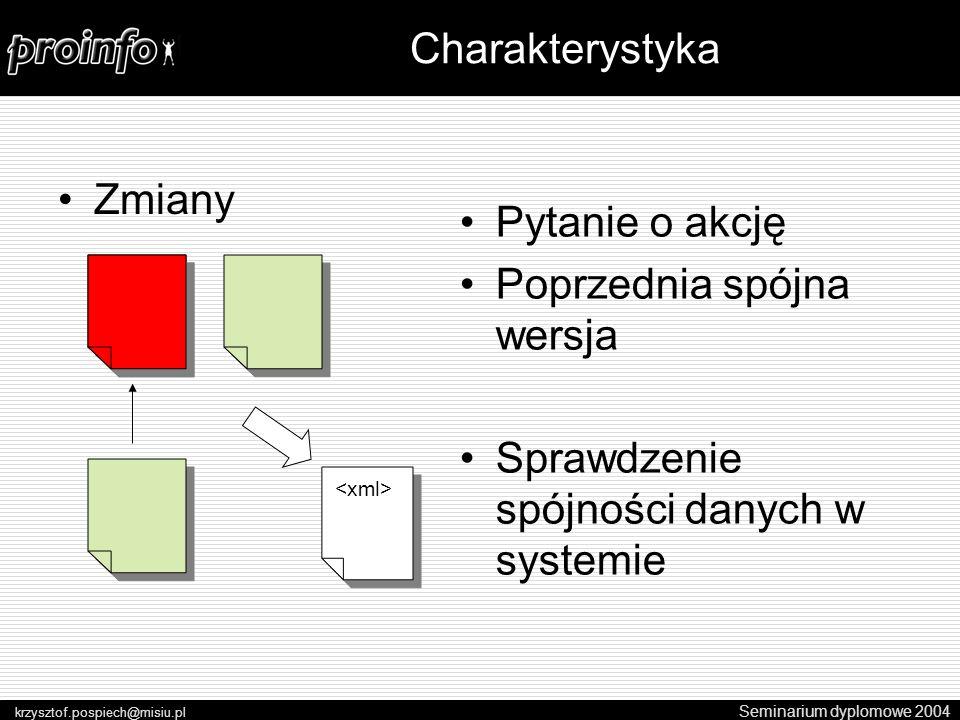 Zmiany Seminarium dyplomowe 2004 krzysztof.pospiech@misiu.pl Charakterystyka Pytanie o akcję Poprzednia spójna wersja Sprawdzenie spójności danych w systemie