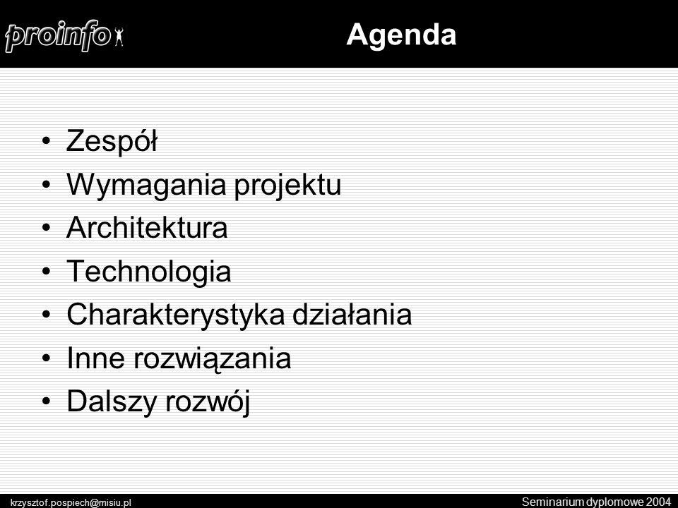 Zespół Wymagania projektu Architektura Technologia Charakterystyka działania Inne rozwiązania Dalszy rozwój Seminarium dyplomowe 2004 krzysztof.pospiech@misiu.pl Agenda