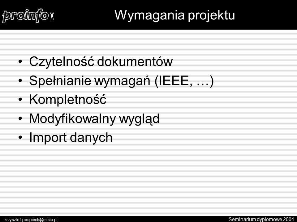 Czytelność dokumentów Spełnianie wymagań (IEEE, …) Kompletność Modyfikowalny wygląd Import danych Seminarium dyplomowe 2004 krzysztof.pospiech@misiu.pl Wymagania projektu