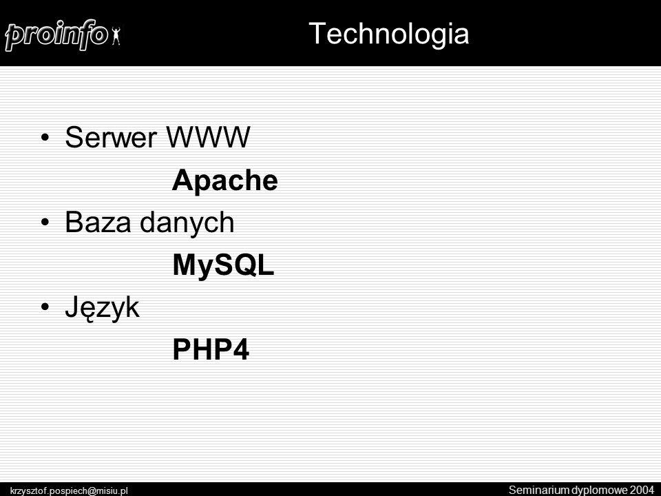 Serwer WWW Apache Baza danych MySQL Język PHP4 Seminarium dyplomowe 2004 krzysztof.pospiech@misiu.pl Technologia