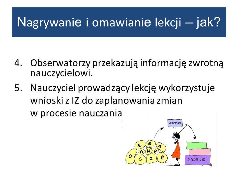 4.Obserwatorzy przekazują informację zwrotną nauczycielowi.