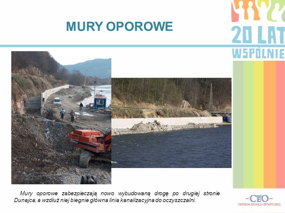 MURY OPOROWE Mury oporowe zabezpieczają nowo wybudowaną drogę po drugiej stronie Dunajca, a wzdłuż niej biegnie główna linia kanalizacyjna do oczyszcz