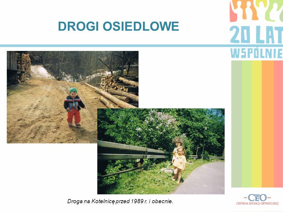 DROGI OSIEDLOWE Droga na Kotelnicę przed 1989 r. i obecnie.