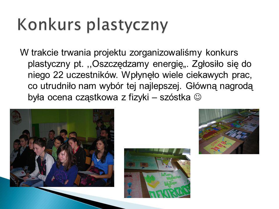 """W trakcie trwania projektu zorganizowaliśmy konkurs plastyczny pt.,,Oszczędzamy energię"""". Zgłosiło się do niego 22 uczestników. Wpłynęło wiele ciekawy"""