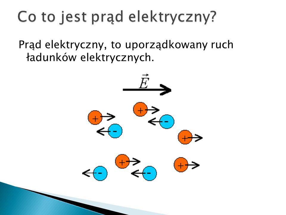 Prąd elektryczny, to uporządkowany ruch ładunków elektrycznych.
