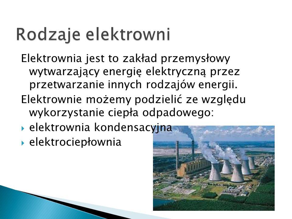 Elektrownia jest to zakład przemysłowy wytwarzający energię elektryczną przez przetwarzanie innych rodzajów energii. Elektrownie możemy podzielić ze w
