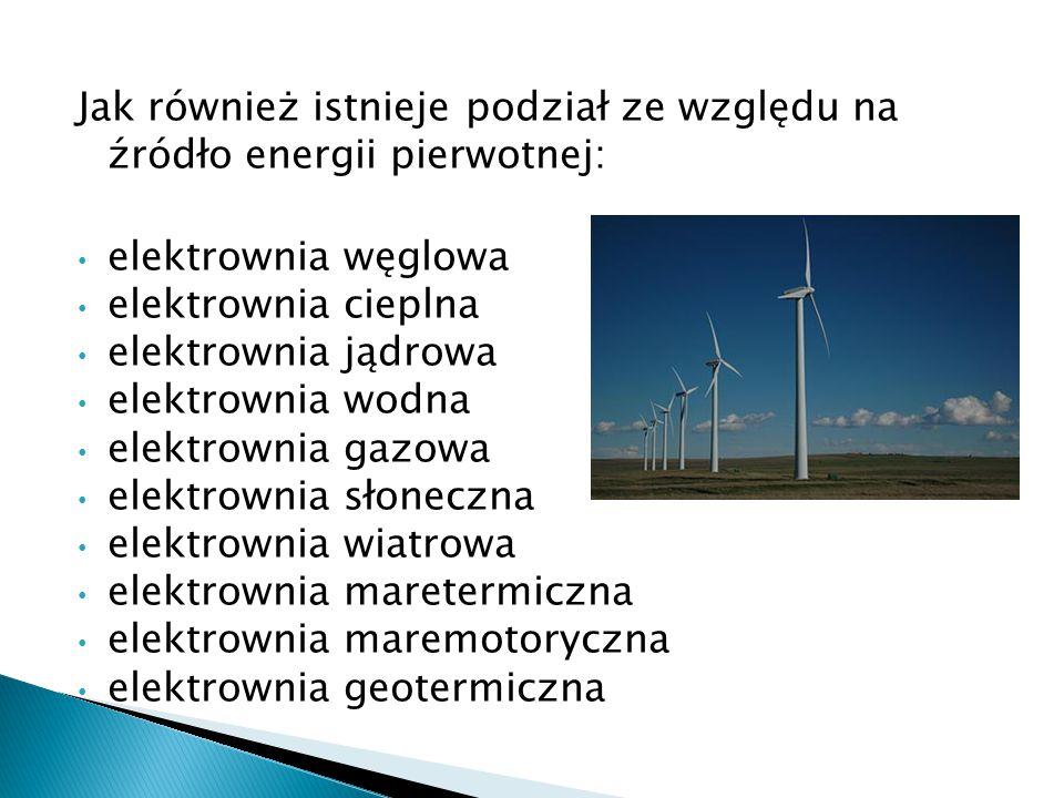 Jak również istnieje podział ze względu na źródło energii pierwotnej: elektrownia węglowa elektrownia cieplna elektrownia jądrowa elektrownia wodna el