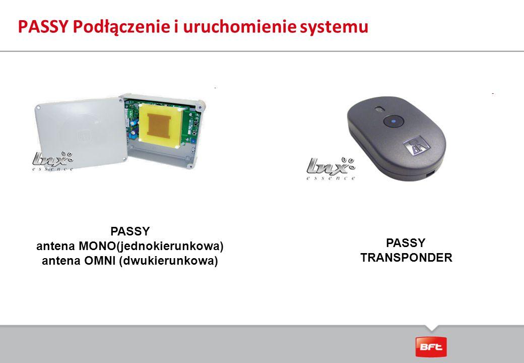 PASSY Podłączenie i uruchomienie systemu PASSY antena MONO(jednokierunkowa) antena OMNI (dwukierunkowa) PASSY TRANSPONDER