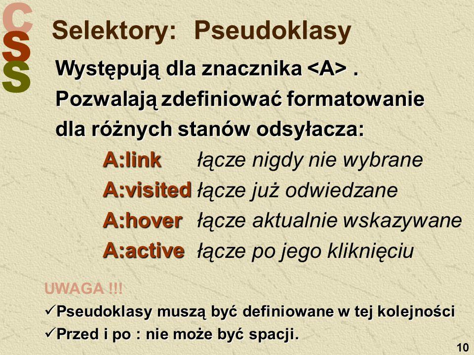 C S S 10 Selektory: Pseudoklasy Występują dla znacznika.