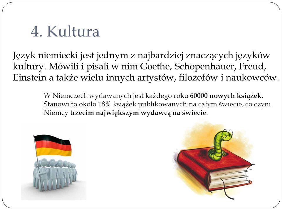 4. Kultura Język niemiecki jest jednym z najbardziej znaczących języków kultury. Mówili i pisali w nim Goethe, Schopenhauer, Freud, Einstein a także w