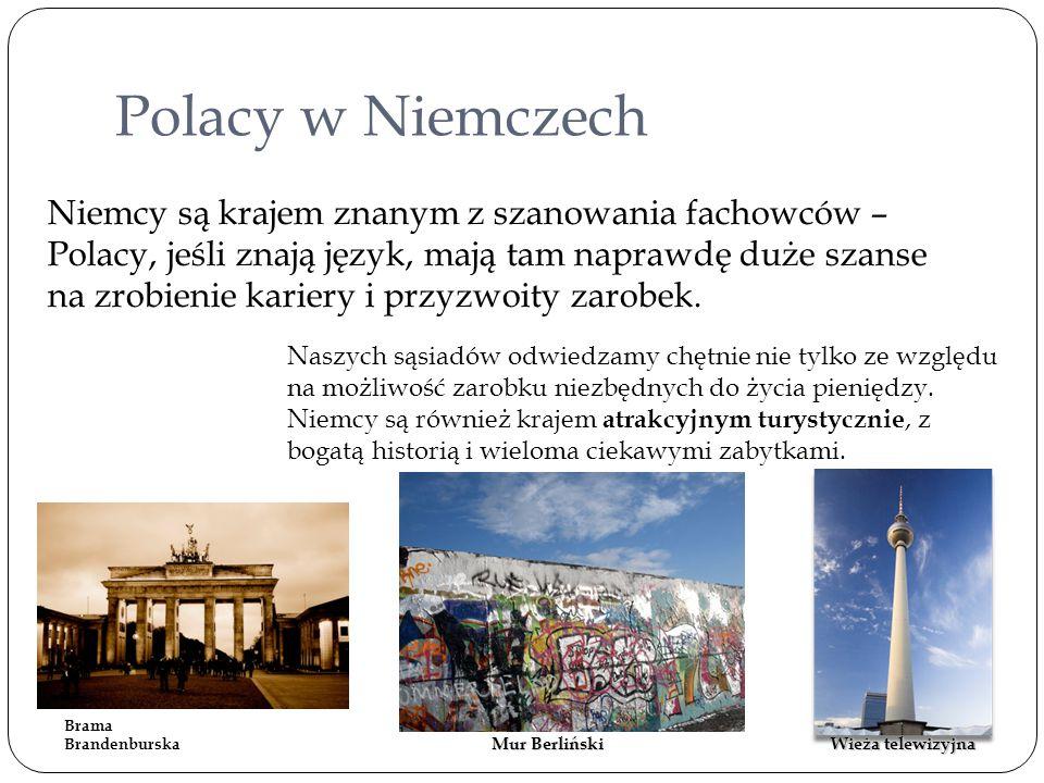 Polacy w Niemczech Niemcy są krajem znanym z szanowania fachowców – Polacy, jeśli znają język, mają tam naprawdę duże szanse na zrobienie kariery i pr