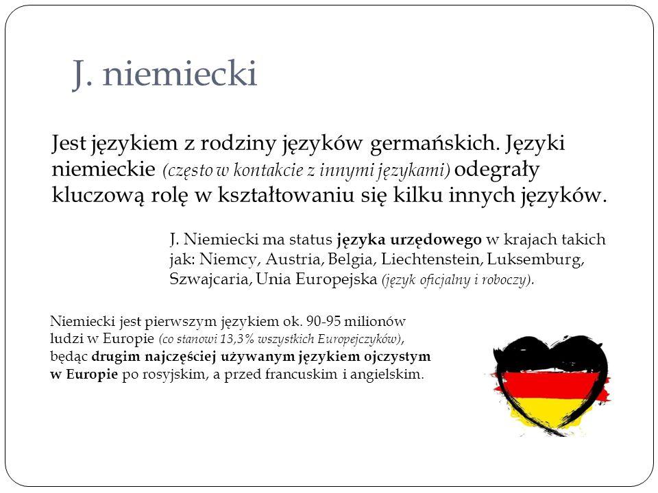 J. niemiecki Jest językiem z rodziny języków germańskich. Języki niemieckie (często w kontakcie z innymi językami) odegrały kluczową rolę w kształtowa