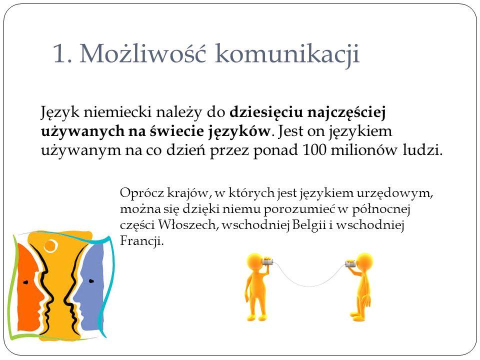 1. Możliwość komunikacji Język niemiecki należy do dziesięciu najczęściej używanych na świecie języków. Jest on językiem używanym na co dzień przez po