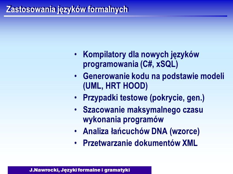 J.Nawrocki, Języki formalne i gramatyki Zastosowania języków formalnych Kompilatory dla nowych języków programowania (C#, xSQL) Generowanie kodu na podstawie modeli (UML, HRT HOOD) Przypadki testowe (pokrycie, gen.) Szacowanie maksymalnego czasu wykonania programów Analiza łańcuchów DNA (wzorce) Przetwarzanie dokumentów XML