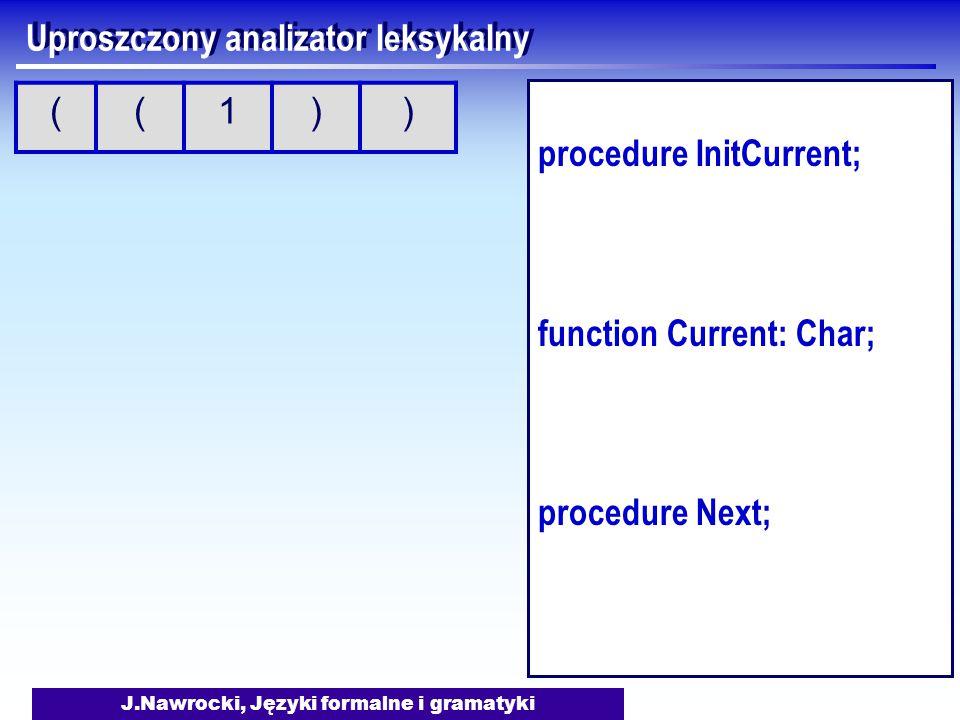 J.Nawrocki, Języki formalne i gramatyki Uproszczony analizator leksykalny procedure InitCurrent; function Current: Char; procedure Next; ((1))