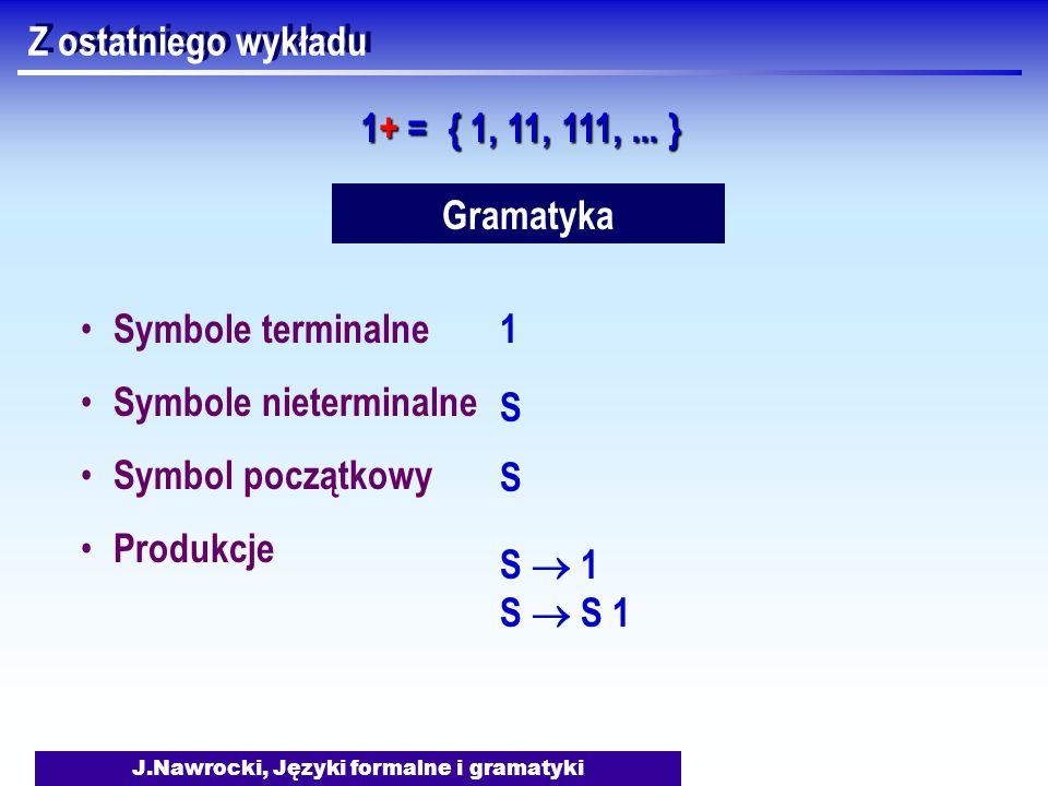 J.Nawrocki, Języki formalne i gramatyki Z ostatniego wykładu 1+ =1+ =1+ =1+ = { 1, 11, 111,... } Gramatyka Symbole terminalne Symbole nieterminalne Sy