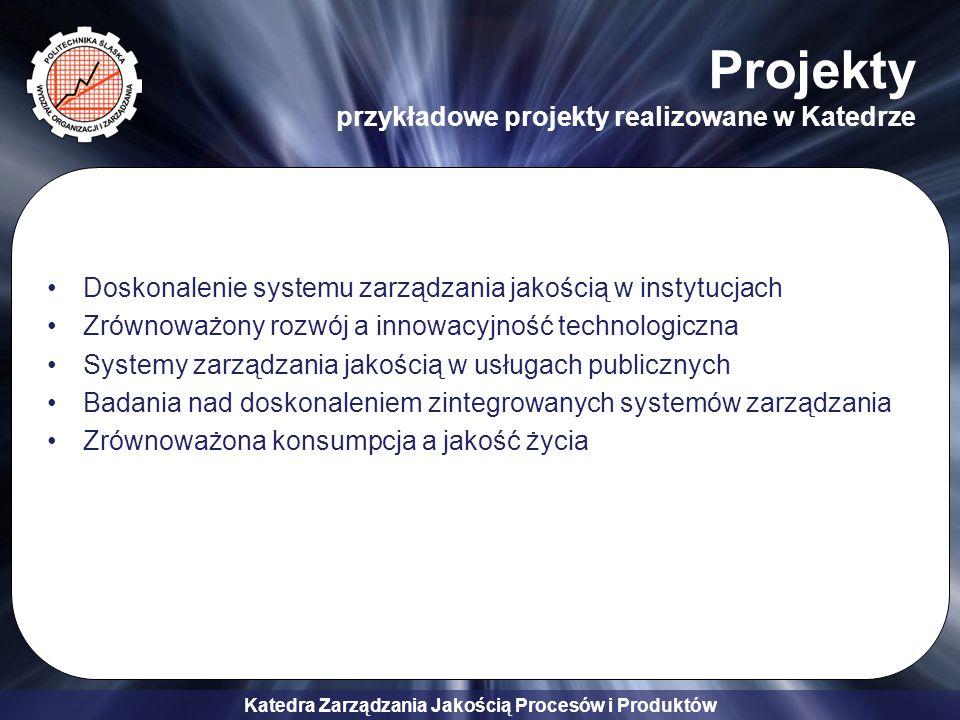Katedra Zarządzania Jakością Procesów i Produktów Doskonalenie systemu zarządzania jakością w instytucjach Zrównoważony rozwój a innowacyjność technologiczna Systemy zarządzania jakością w usługach publicznych Badania nad doskonaleniem zintegrowanych systemów zarządzania Zrównoważona konsumpcja a jakość życia Projekty przykładowe projekty realizowane w Katedrze