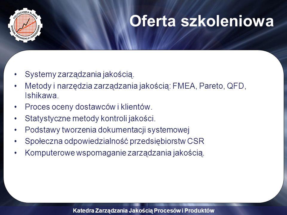 Katedra Zarządzania Jakością Procesów i Produktów Systemy zarządzania jakością.