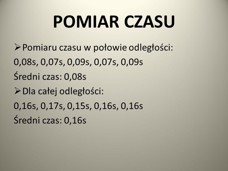 POMIAR CZASU  Pomiaru czasu w połowie odległości: 0,08s, 0,07s, 0,09s, 0,07s, 0,09s Średni czas: 0,08s  Dla całej odległości: 0,16s, 0,17s, 0,15s, 0
