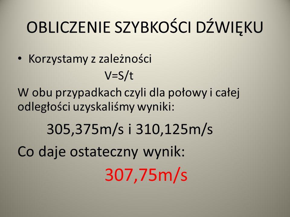 OBLICZENIE SZYBKOŚCI DŹWIĘKU Korzystamy z zależności V=S/t W obu przypadkach czyli dla połowy i całej odległości uzyskaliśmy wyniki: 305,375m/s i 310,125m/s Co daje ostateczny wynik: 307,75m/s
