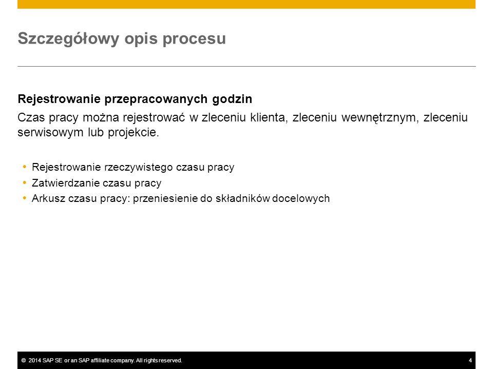 ©2014 SAP SE or an SAP affiliate company. All rights reserved.4 Szczegółowy opis procesu Rejestrowanie przepracowanych godzin Czas pracy można rejestr