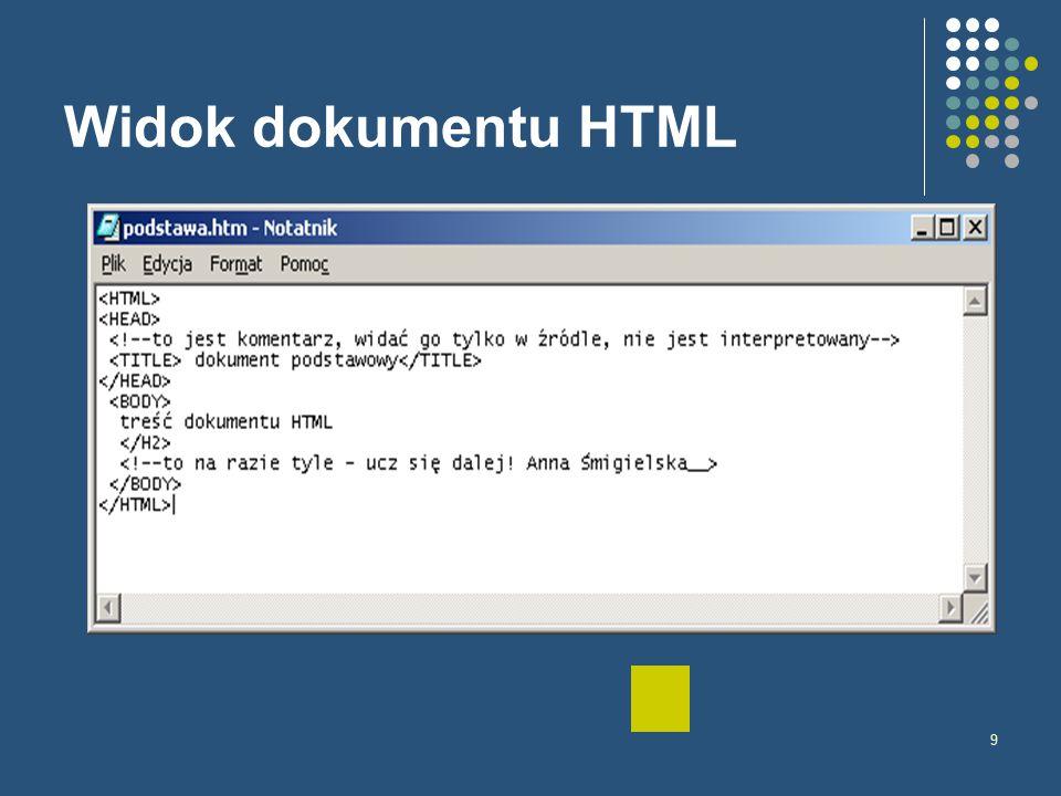9 Widok dokumentu HTML