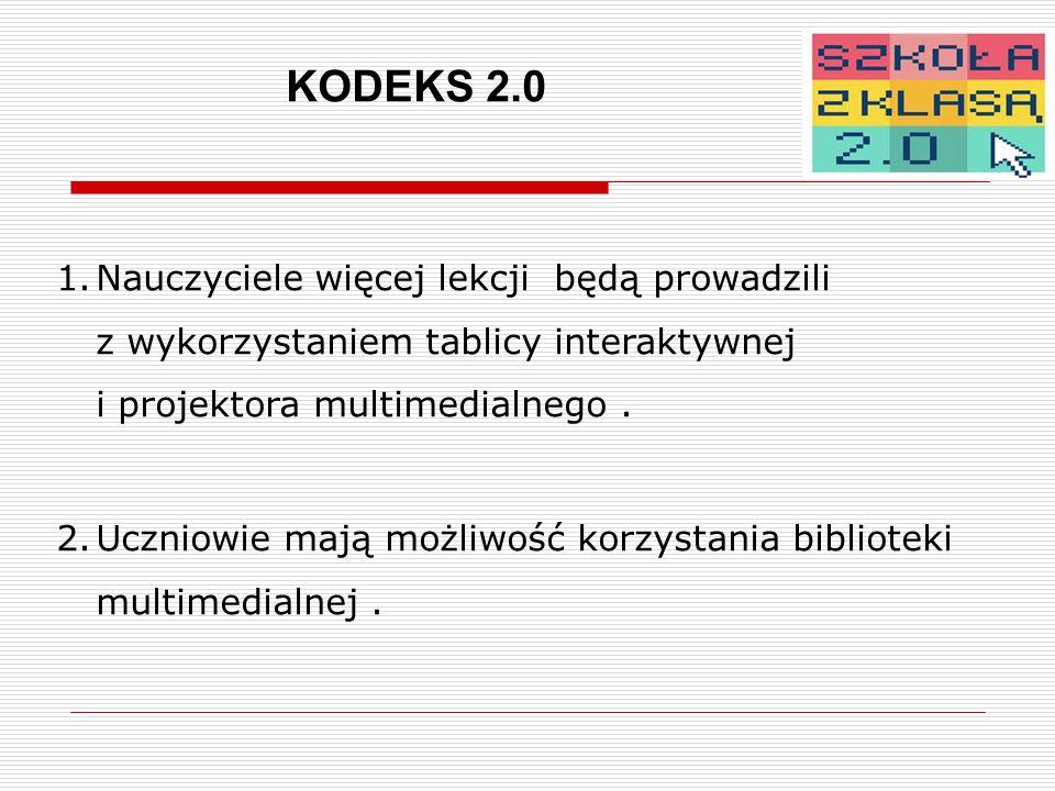 KODEKS 2.0 1.Nauczyciele więcej lekcji będą prowadzili z wykorzystaniem tablicy interaktywnej i projektora multimedialnego.