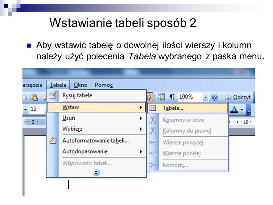 Wstawianie tabeli sposób 2 Aby wstawić tabelę o dowolnej ilości wierszy i kolumn należy użyć polecenia Tabela wybranego z paska menu.
