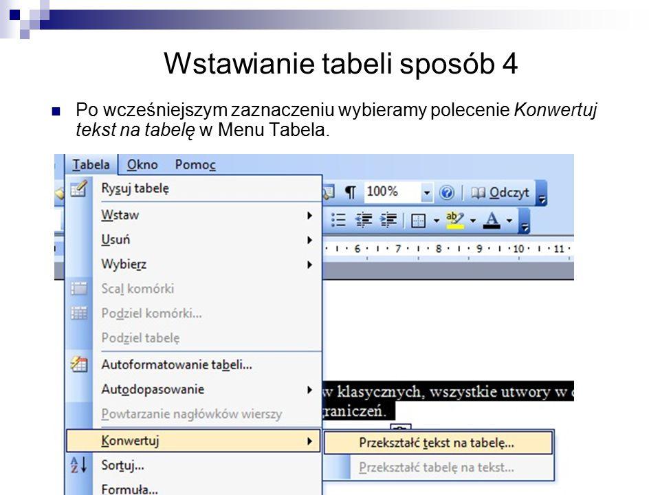 Wstawianie tabeli sposób 4 Po wcześniejszym zaznaczeniu wybieramy polecenie Konwertuj tekst na tabelę w Menu Tabela.