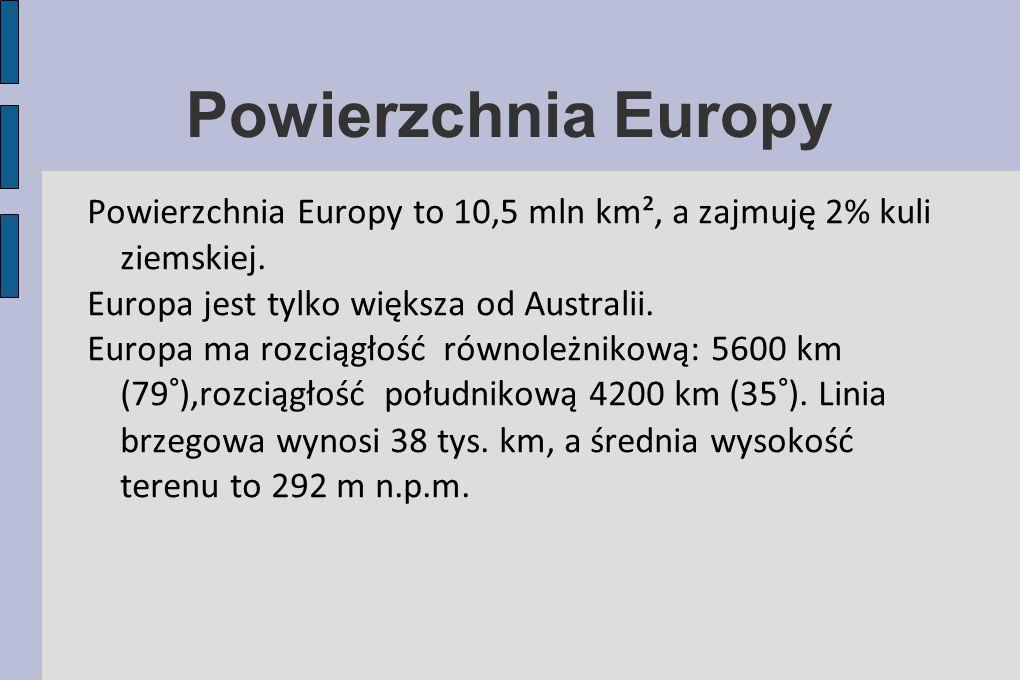 Powierzchnia Europy Powierzchnia Europy to 10,5 mln km², a zajmuję 2% kuli ziemskiej. Europa jest tylko większa od Australii. Europa ma rozciągłość ró