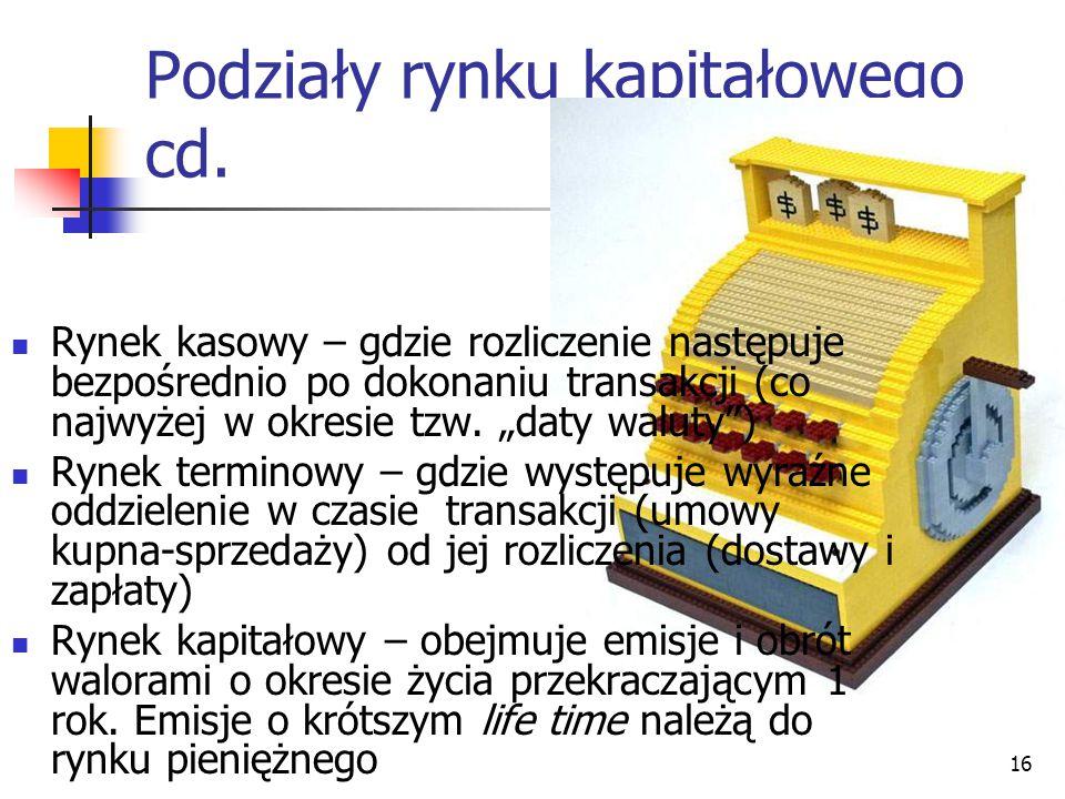 16 Podziały rynku kapitałowego cd.