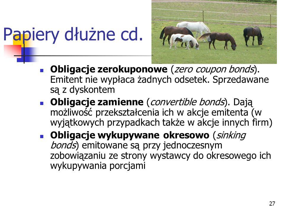 27 Papiery dłużne cd.Obligacje zerokuponowe (zero coupon bonds).