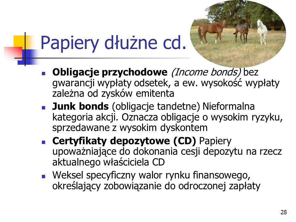 28 Papiery dłużne cd.Obligacje przychodowe (Income bonds) bez gwarancji wypłaty odsetek, a ew.