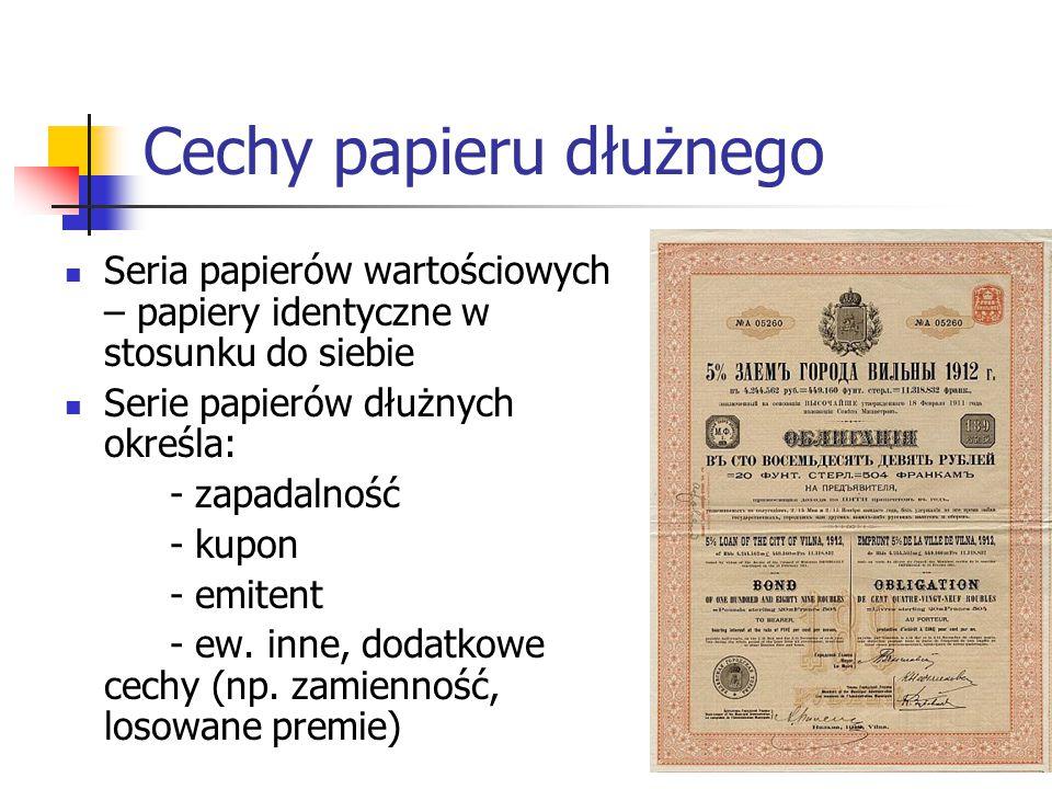 29 Cechy papieru dłużnego Seria papierów wartościowych – papiery identyczne w stosunku do siebie Serie papierów dłużnych określa: - zapadalność - kupon - emitent - ew.