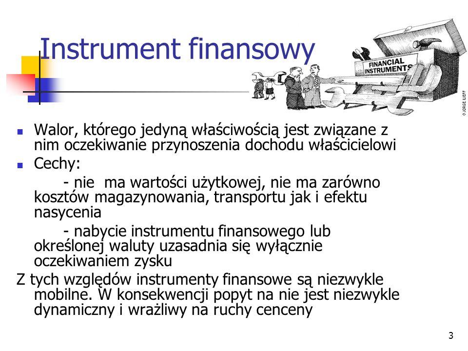 3 Instrument finansowy Walor, którego jedyną właściwością jest związane z nim oczekiwanie przynoszenia dochodu właścicielowi Cechy: - nie ma wartości użytkowej, nie ma zarówno kosztów magazynowania, transportu jak i efektu nasycenia - nabycie instrumentu finansowego lub określonej waluty uzasadnia się wyłącznie oczekiwaniem zysku Z tych względów instrumenty finansowe są niezwykle mobilne.