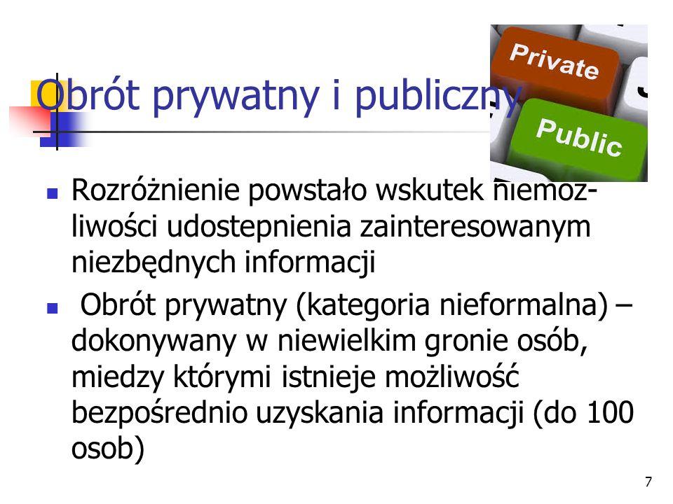 Rozróżnienie powstało wskutek niemoż- liwości udostepnienia zainteresowanym niezbędnych informacji Obrót prywatny (kategoria nieformalna) – dokonywany w niewielkim gronie osób, miedzy którymi istnieje możliwość bezpośrednio uzyskania informacji (do 100 osob) 7 Obrót prywatny i publiczny