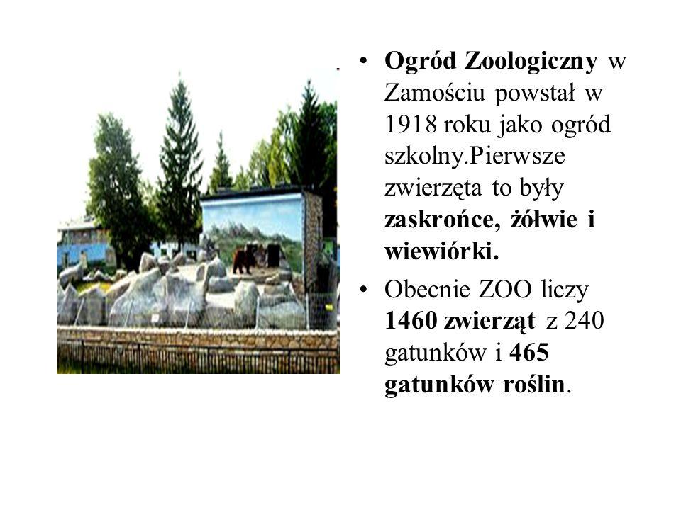Ogród Zoologiczny w Zamościu powstał w 1918 roku jako ogród szkolny.Pierwsze zwierzęta to były zaskrońce, żółwie i wiewiórki. Obecnie ZOO liczy 1460 z