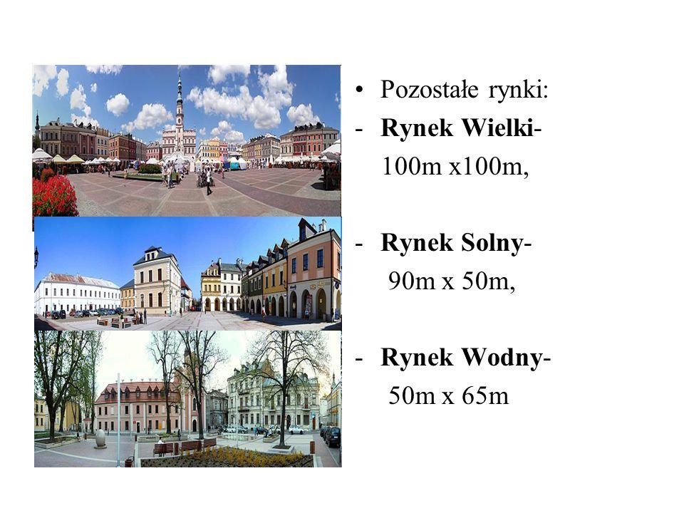 Pozostałe rynki: -Rynek Wielki- 100m x100m, -Rynek Solny- 90m x 50m, -Rynek Wodny- 50m x 65m