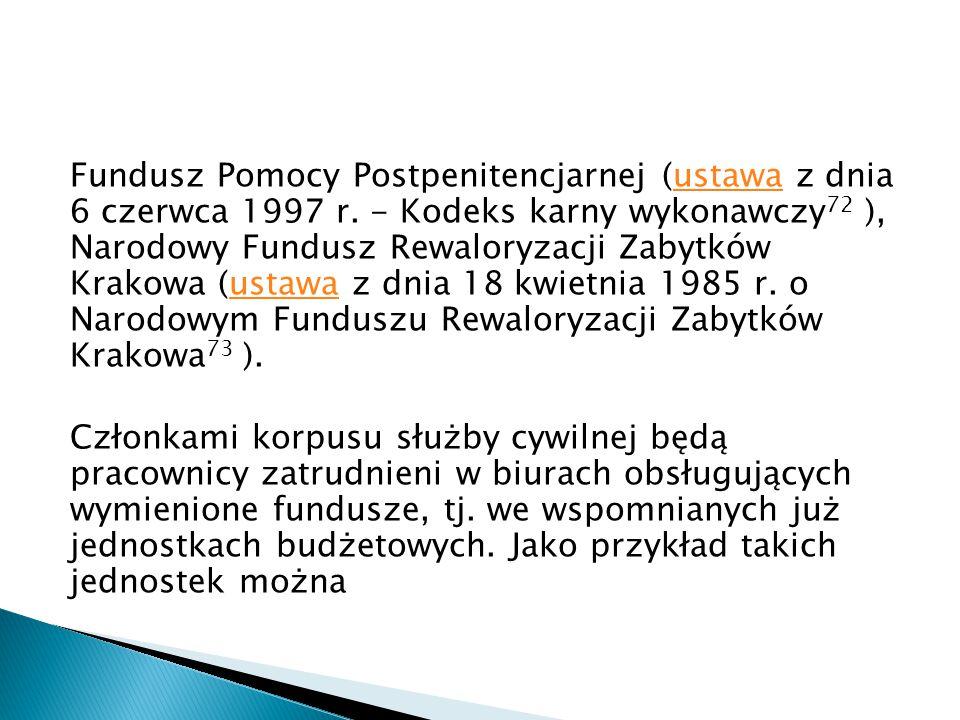 Fundusz Pomocy Postpenitencjarnej (ustawa z dnia 6 czerwca 1997 r. - Kodeks karny wykonawczy 72 ), Narodowy Fundusz Rewaloryzacji Zabytków Krakowa (us