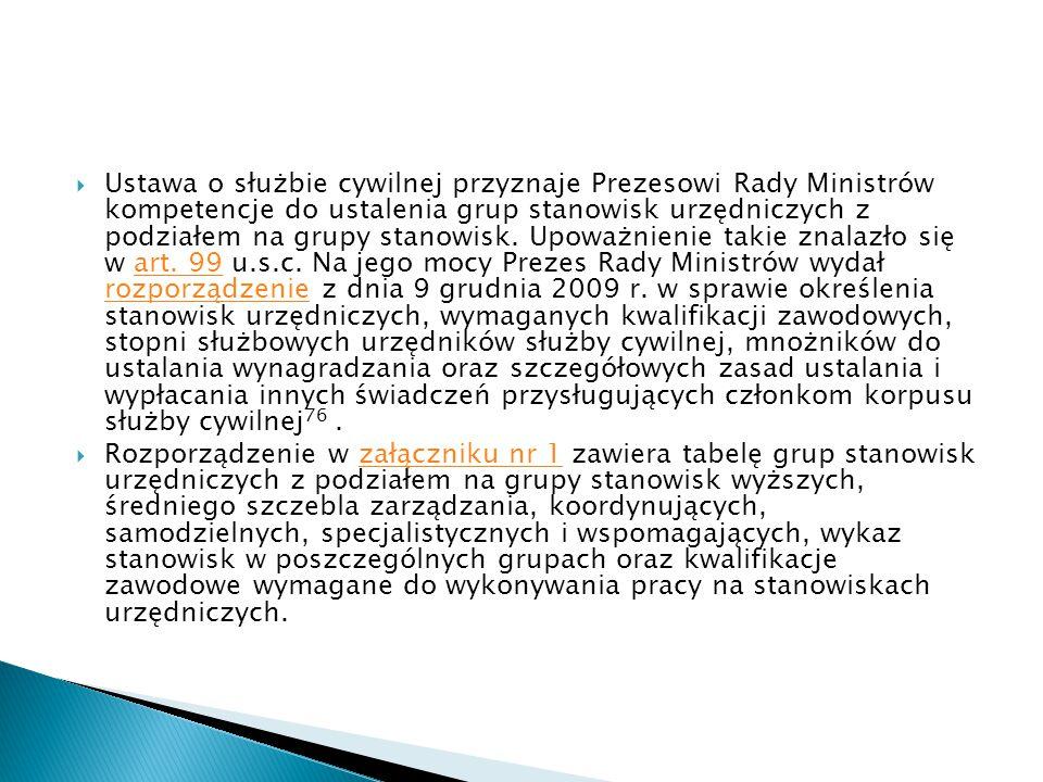  Ustawa o służbie cywilnej przyznaje Prezesowi Rady Ministrów kompetencje do ustalenia grup stanowisk urzędniczych z podziałem na grupy stanowisk. Up